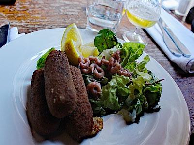 croquettes de crevettes grises au Barbue d'Anvers